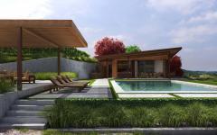 terrasse piscine extérieure maison de vacances luxe