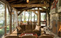 véranda chalet en bois résidence sécondaire