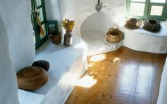 Cheminée maison de vacances rustique grecque