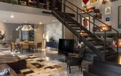 séjour escalier mezzanine design luxe