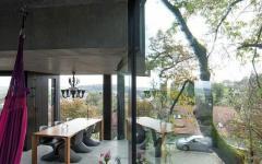 béton et verre intérieur industriel