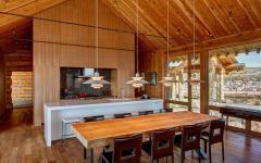 intérieur du chalet en bois américain