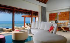 intérieur villa luxueuse île Maldives