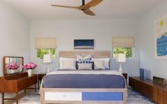 chambre à coucher design bleu blanc