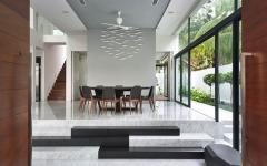 intérieur marbre séjour salle à manger rénovation maison jumelée luxe