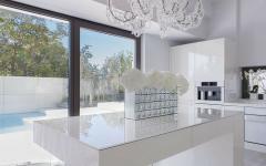 salle à manger cuisine blanc contemporaine style