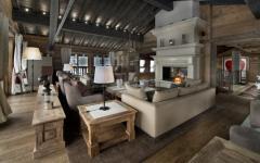séjour design rustique chalet courchevel