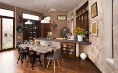 cuisine ouverte salle à manger rustiques