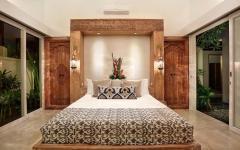 Chambre en bois tropical décoré