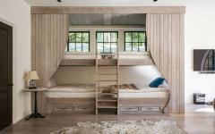 lits superposés en bois massif maison de campagne