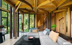 séjour salon petite maison originale insolite en bois