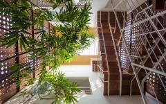 patio intérieur agencement architecture original résidence
