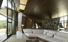 séjour au canapé encastré maison contemporaine