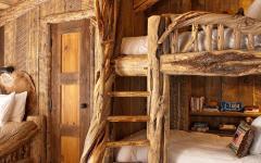 chambre lits superposés bois rustique