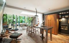 cuisine placards intégrés en bois massif