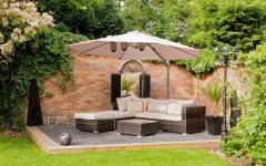 aménagement élégant jardin salon parasol fratello