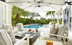 jardin piscine parasol déporté blanc protection anti-uv