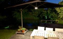 parasol déporté éclairage intégré jardin
