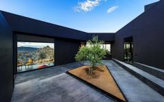 patio avec arbre maison moderne