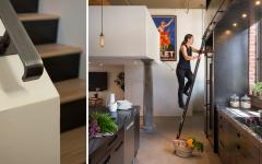Aménagements en hauteur cuisine de loft industriel