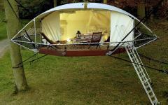 chambre et terrasse cabane de vacances