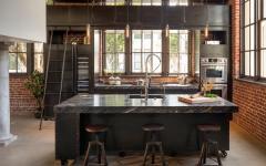 Comptoir & ilot central de cuisine dans un loft