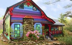 maison à la décoration extérieure et intérieur multicolore