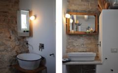 salle de bain design rustique en pierre