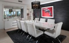 salle à manger meublée en blanc