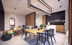 côté salle à manger et cuisine moderne