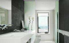salle de douche d'eau en noir et blanc luxe