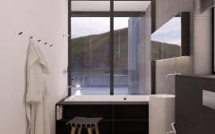 salle de bain design luxe avec vue