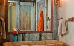aménagement décoration salle de bains rustique