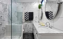 cabine de douche italienne marbre blanc bungalow rénovation
