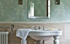 salle de bain aux papiers peints d'antan