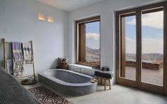 baignoire en granit salle de bains rustique