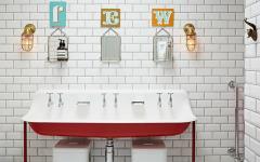 inspiration éclectique retro salle de bain
