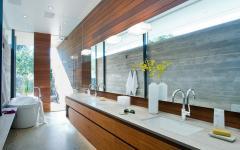 salle de bains grande porcelaine bois massif placards