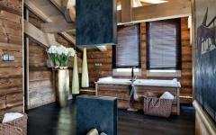 salle de bains rustique chalet en bois de vacances