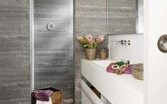 salle de bains design gris