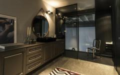 salle de bains design original sombre