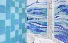 aménagement salle de bains douche italienne mosaïque