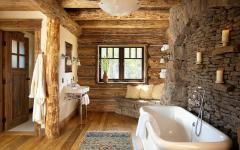 salle de bains design rustique en pierres