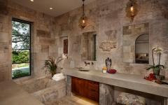 salle de bain aménagement rustique pierre