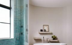 salle de bain design blanc turquoise