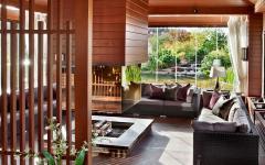 salon en bois massif avec vue jardin