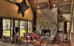 séjour ameublement aménagement rustique bois pierres