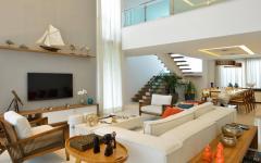 intérieur séjour mezzanine maison contemporaine sur la mer