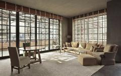grande espace de vie meublé style industriel