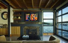 séjour originale maison flottante amarrée dans le lac